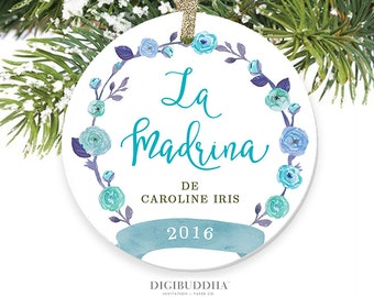 Madrina Ornament Spanish Godmother Ornament Personalized Madrina Gift for Godmother Baptism Christmas Ornament La Madrina Christening Gift