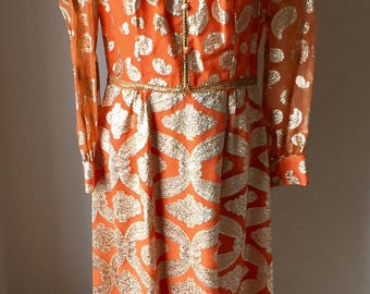 Vintage Misses' 1960s Andora Orange Gold Tinsel Full Length Dress 6 8 10