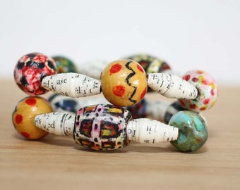Harry Potter Recycled Paper Bead Bracelet Set, Elastic Stacked Bracelet Set Perfect for Teacher Gift, Librarian Gift, Harry Potter Jewelry
