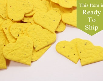 Sunshine Yellow Plantable Seed Paper Confetti Hearts - READY-TO-SHIP - Wedding Favors, Bridal Shower Favors, Baby Shower Favors