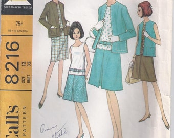 Sleeveless Dress Or Blouse With French Darts At Front Jacket Or Vest And Skirt Size 12 Used Vintage Sewing Pattern 1966 McCalls 8216