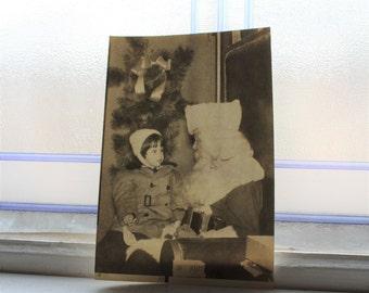 Girl On Santa's Lap Photograph Vintage 1950s