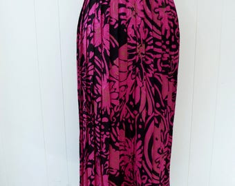 80's Christian Dior Silk Skirt Abstract Bold Floral Black Hot Pink Gold Designer Pleated Midi Skirt S M