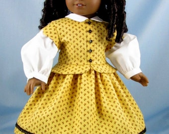 1800s Doll Dress - Civil War Era Dress - fits American Girl Doll - 18 Inch Doll Clothing - for Addy and Marie Grace - Gold with Red Floral
