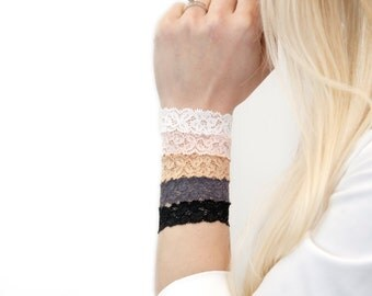 Lace Bracelet Stack SET, Stackable Bracelet, Skinny Nursing Bracelet Hair Tie Lace Wrist Cuff Wrist Tattoo Cover Up, Bun Wrap, Gift for Her