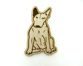 Bull Terrier Brooch, bull terrier pin, laser etched dog brooch, lasercut wood brooch, bull terrier gift, cute pinback dog brooch