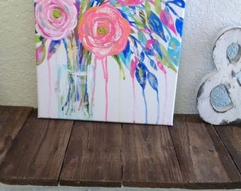 Abstract floral modern colorful vase painting 11x14