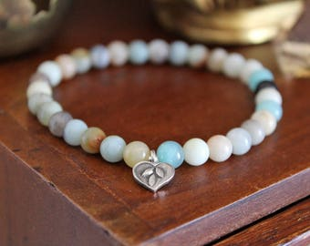 Heart Bracelet - Amazonite Bracelet with Fine Silver Charm, Natural Amazonite beads, Heart Chakra, beachy boho Beads for Worry and Healing