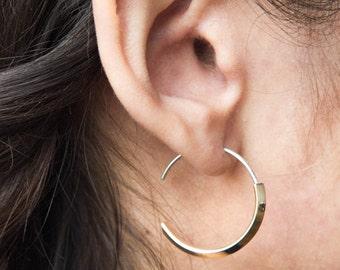 Minimalist Hoop Earrings, Triangle Round Earrings, Brass or Silver Hoops by Camillettejewelry