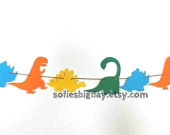 Dinosaur Banner-Dinosaur Garland-Dinosaur birthday-Dinosaur decor-dinosaur party-1ST birthday-dinosaur party decorations- ready to ship