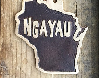 Wisconsin State Pet ID Tag, Etched Brass Dog Tag - Your Home State