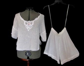 Vintage 80s White Gauzy 100% Cotton 2 piece Steampunk Pajama Set Victorian Lace Trim Short Sleeves size M