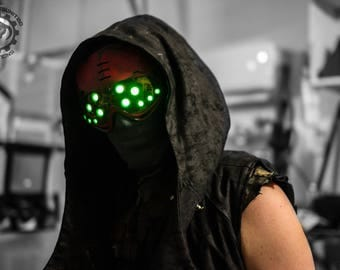 Hivemind v.2.7 Dystopian Cyberpunk distressed light up costume future goggles - Ready to ship.
