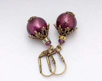 Amethyst Purple Venetian Glass Earrings Dangle, Purple Filigree Earrings, Nickel Free Earrings Drop, Purple Murano Glass Jewelry, Doriane