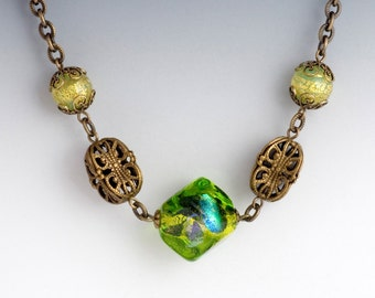Olive Green Murano Necklace, Green Glass Jewelry, Green Necklace Filigree, Green Venetian Bead Necklace, Lampwork Bead Jewelry, Gayane