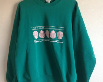 Cape May Pastel Green and Pink Seashell New Jersey Vintage Crewneck