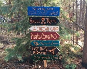 Peter Pan Fantasy Story Signs - Captain Hook Lost Boys Pirate Theme Kids Room Nursery Tinkerbell Neverland Mermaid Painted Cedar Wood Yard
