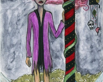 Christmas Art ORIGINAL 5.5x8.5 watercolor on paper // Candy Cane, Girl with Pink Hair, Snake, Skulls, Wind, North Pole, black, purple