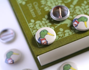 Duck Pin Badge Cute Badge Victorian Button Duck Button Animals In Clothes Geeky