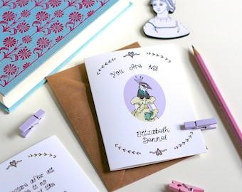 Valentine's Card Pride and Prejudice Card Elizabeth Bennet Valentine's Day Card Greetings Card Book Lover