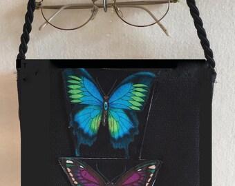 Butterfly Fabric Small Purse Shoulder Hand Bag Evening Bag Clutch Purse