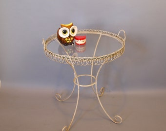 Mid Century white wire shabby cottage chic chippy round glass top end table