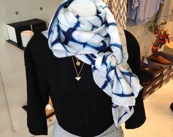 Scarf, 100% Silk Habotai, Hand-dyed Indigo Shibori