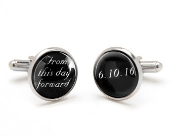 Wedding Cufflinks - Groom Cufflinks - From this Day Forward Cufflinks - Personalized Groom Cufflinks and Wedding Date - Cool Gifts for Groom