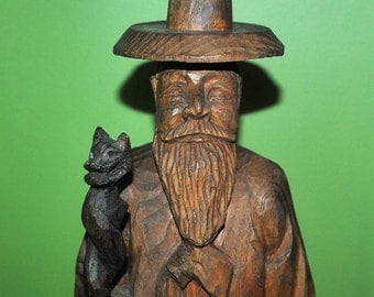 """Carved Wood Wizard with Pipe and Removable Owl Staff 22"""" Tall FREE SHIPPING"""