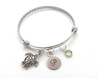Turtle Bracelet, Tortoise Jewelry, Sea Turtle Jewelry, Turtle Gift,Longevity, Personalized good health Bracelet, Initial, Mother earth