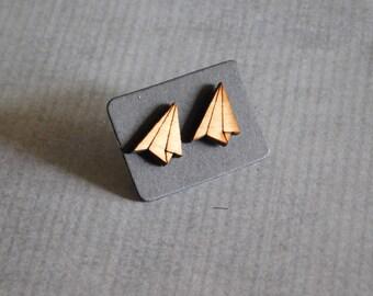 Paper Plane Stud Earrings : Laser Cut Wood Jewelry