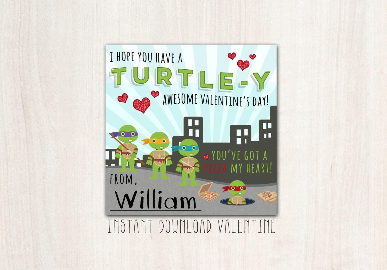 Turtle TMNT Valentines - DIY Print - INSTANT Downland
