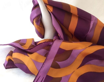 "Vintage Vera Neumann Scarf  15"" x 45"" Purple and Orange Acetate Scarf, Vera Scarf"