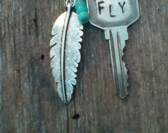 FLY Handstamped/One of a Kind/Repurposed Vintage Key Necklace