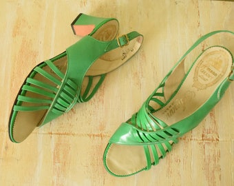 Vintage 1970's Green Leather Sandals | Sling Back Heels