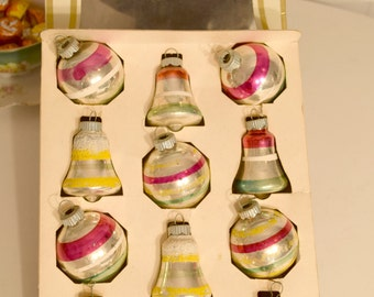 Vintage Christmas Stencil Striped Indent Shiny Brite Box Of Ornaments