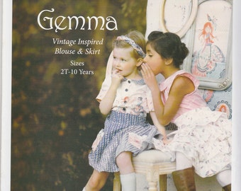 Gemma Blouse & Skirt Pattern by Violette Field Threads Sizes 2T - 10 Uncut