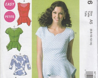 Darling Peplum Blouse Pattern McCalls 7126 Sizes 6 - 14 Uncut