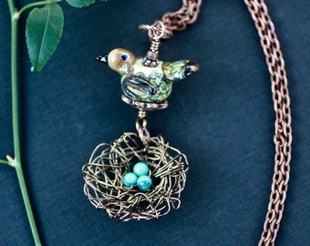 Necklace, Bird Nest Necklace, Bird Nest Pendant, Lampwork Bird Bead, Bird Jewelry, Antique Copper, Glass Bird Bead, Robins Egg