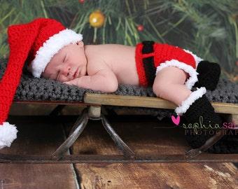 Santa Outfit - Crochet Santa Set - Santa Costume - newborn photo prop - babys first christmas outfit - newborn - infant ..crochet santa hat