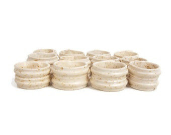 Vintage Napkin Rings Hand Carved Cow Bone 12 Piece Set Ivory Holders Table Décor Textured Bovine Beige