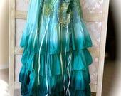 Neptune Ruffled Waves Skirt Ribbons Crochet Embellishments Beach Beauty