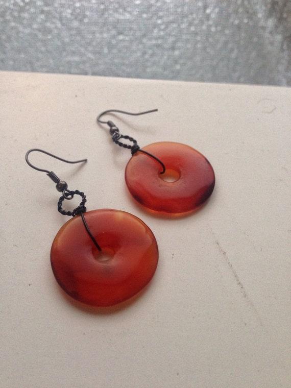 Carnelian Donut Earrings - Black and Orange Gothic Steampunk Jewelry - Sacral Chakra Healing Crystal