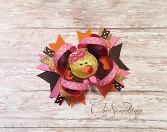 Turkey headband, turkey bow, thanksgiving headband, thanksgiving bow, baby turkey headband, turkey hair bow, turkey headband bow, baby first