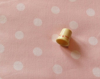 white on soft pink polka dot print vintage cotton fabric -- 43 wide by the yard