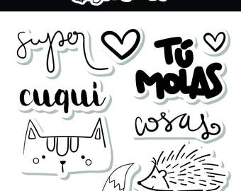"""Pack of clear stamps set - spanish - high quality - """"CUQUI"""""""