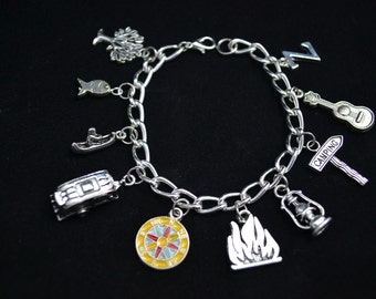 Personalized Camping/RV Themed Charm Bracelet, Silver Chain, 10 Charms,You Pick Initial, Canoe, RV, Camper, Compass, Campfire, Lantern, Sign