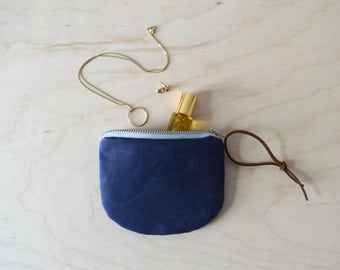 Coin Purse in Waxed Canvas