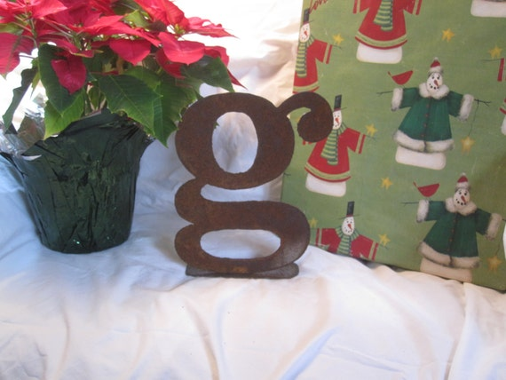 "Ready To Ship!  Lowercase metal letter ""g"" on stand"