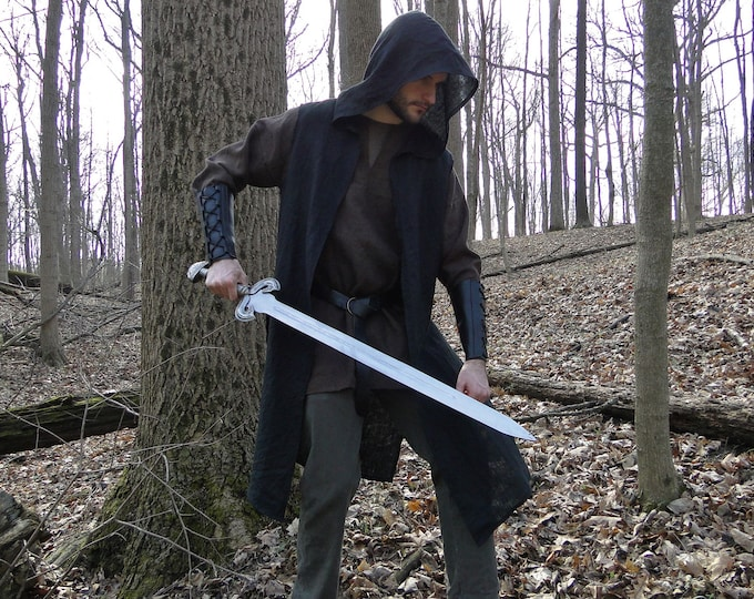 Hooded Ranger Surcoat, Medieval Assassin Vest - Mens Large One Size, 4 Colors!